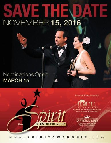 2016 Spirit of the Entrepreneur Event Date Announced! Image.